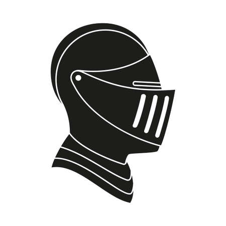 Black and white knight helmet. Medieval festival props. Fairy tale theme vector illustration for icon, stamp, label, certificate, gift card, invitation, coupon or sale banner decoration