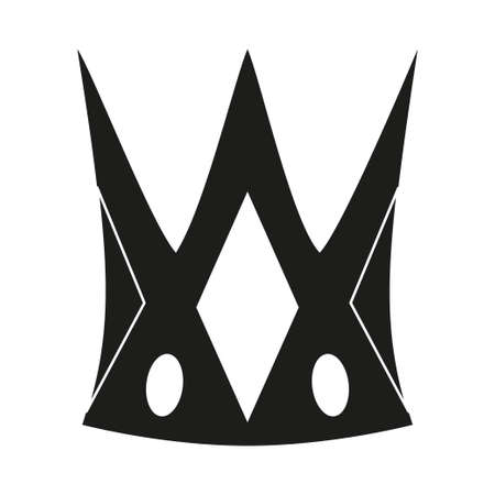 Black and white fairytale crown. Medieval festival props. Fairy tale theme vector illustration for icon, stamp, label, certificate, gift card, invitation, coupon or sale banner decoration