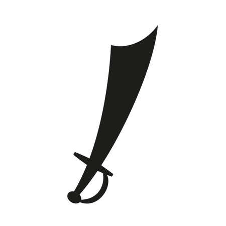 Black and white scimitar silhouette. Medieval festival props. Fairy tale theme vector illustration for icon, stamp, label, certificate, gift card, invitation, coupon or sale banner decoration Foto de archivo - 137331460