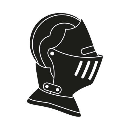 Black and white historycal helmet. Medieval festival props. Fairy tale theme vector illustration for icon, stamp, label, certificate, gift card, invitation, coupon or sale banner decoration Ilustração