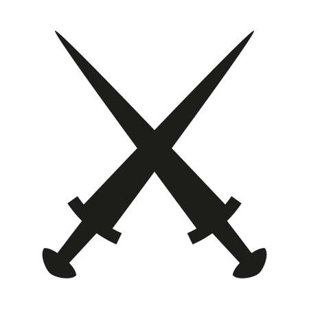 Black and white crossed daggers silhouette. Medieval festival props. Fairy tale theme vector illustration for icon, stamp, label, certificate, gift card, invitation, coupon or sale banner decoration