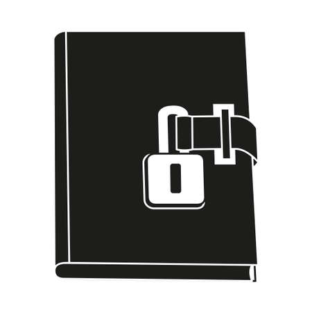 Black and white locked diary. Girl secret journal. Fairy tale theme vector illustration for icon, stamp, label, certificate, gift card, invitation, coupon or sale banner decoration