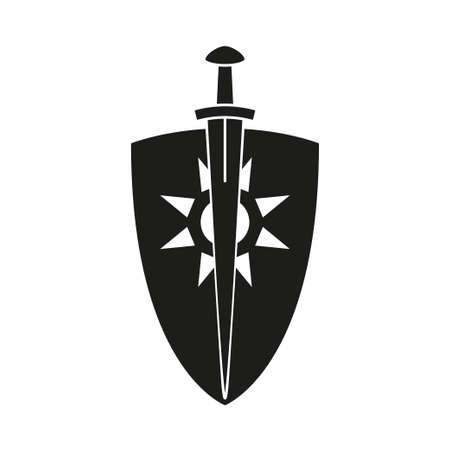 Black and white sword shield. Medieval festival props. Fairy tale theme vector illustration for icon, stamp, label, certificate, gift card, invitation, coupon or sale banner decoration