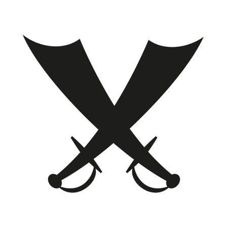 Black and white crossed scimitars silhouette. Medieval festival props. Fairy tale theme vector illustration for icon, stamp, label, certificate, gift card, invitation, coupon or sale banner decoration Vector Illustration