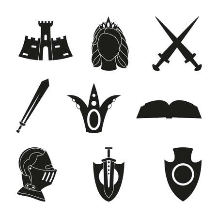 9 black and white fairytale elements. Medieval festival props. Fairy tale theme vector illustration for icon, stamp, label, certificate, gift card, invitation, coupon or sale banner decoration