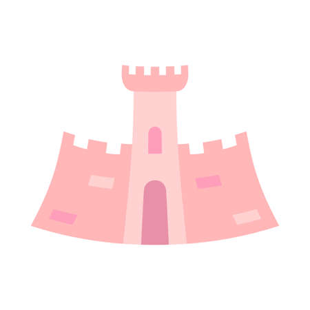 Cartoon pink fairytale castle. Medieval theme vector illustration for icon, stamp, label, certificate, gift card, invitation, coupon or sale banner decoration Vectores