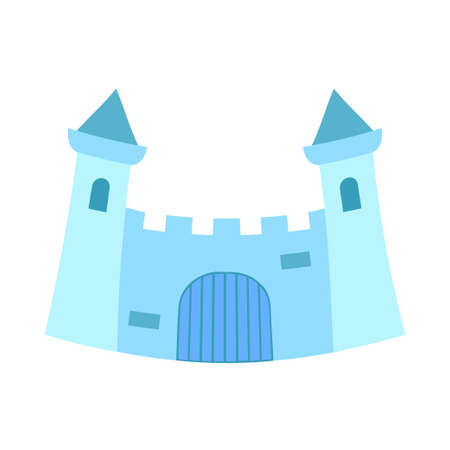 Cartoon blue fairytale castle gate. Medieval theme vector illustration for icon, stamp, label, certificate, gift card, invitation, coupon or sale banner decoration Vectores