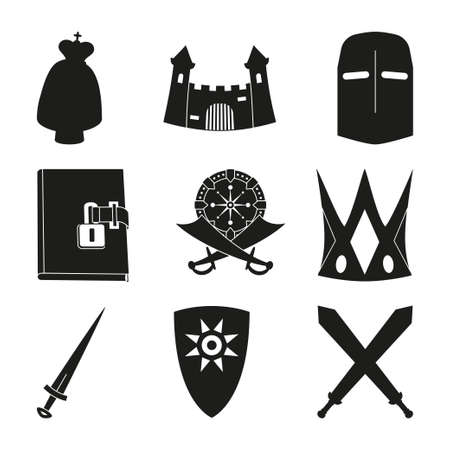 9 black and white fairy tale elements. Historical festival props. Fairytale theme vector illustration for icon, stamp, label, certificate, gift card, invitation, coupon or banner decoration