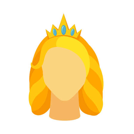 Cartoon blond queen avatar. Royal crown on woman head. Fairy tale theme vector illustration for icon, stamp, label, certificate, gift card, invitation, coupon or sale banner decoration Vectores