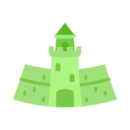 Cartoon green forest castle. Fairy tale theme vector illustration for icon, stamp, label, certificate, gift card, invitation, coupon or sale banner decoration