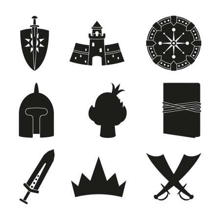 9 black and white fantasy elements. Historical festival props. Fairy tale theme vector illustration for icon, stamp, label, certificate, gift card, invitation, coupon or banner decoration