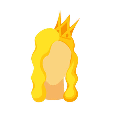 Cartoon blond beauty queen avatar. Royal crown on woman head. Fairy tale theme vector illustration for icon, stamp, label, certificate, gift card, invitation, coupon or sale banner decoration