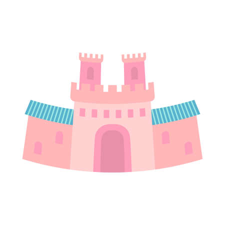 Cartoon hink fairy tale castle gate. Medieval theme vector illustration for icon, stamp, label, certificate, gift card, invitation, coupon or sale banner decoration