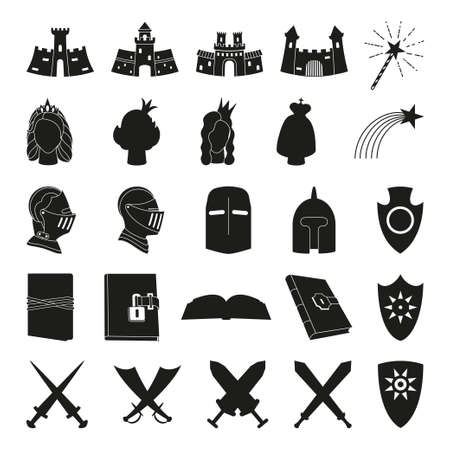 25 black and white fairytale elements. Medieval festival props. Fairy tale theme vector illustration for icon, stamp, label, certificate, gift card, invitation, coupon or sale banner decoration