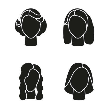 Black and white girl hairstyle silhouette set. Woman avatar with different hair design. Beauty themed vector illustration for icon, label, certificate, brochure, poster, coupon or banner decoration