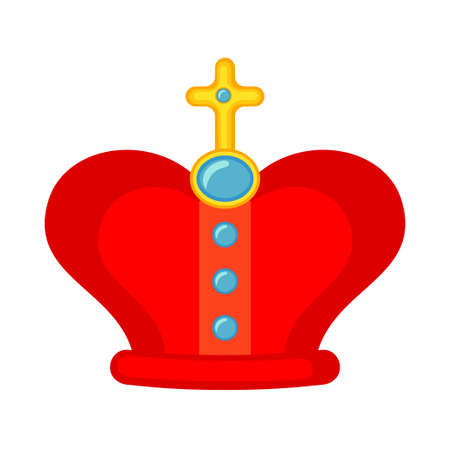 Cartoon coloeful royal crown. Medieval festival props. Fairy tale theme vector illustration for icon, stamp, label, certificate, gift card, invitation, coupon or sale banner decoration