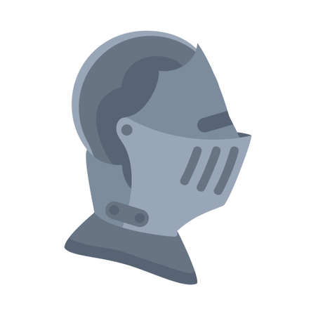 Cartoon gray historycal helmet. Medieval festival props. Fairy tale theme vector illustration for icon, stamp, label, certificate, gift card, invitation, coupon or sale banner decoration