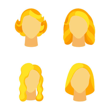 Cartoon blond girl hairstyle set. Woman avatar with different hair design. Beauty themed vector illustration for icon, label, certificate, brochure, poster, coupon or banner decoration