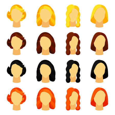 Colorful cartoon girl hairstyle set. Woman avatar with different hair design. Beauty themed vector illustration for icon, label, certificate, brochure, poster, coupon or banner decoration Ilustración de vector