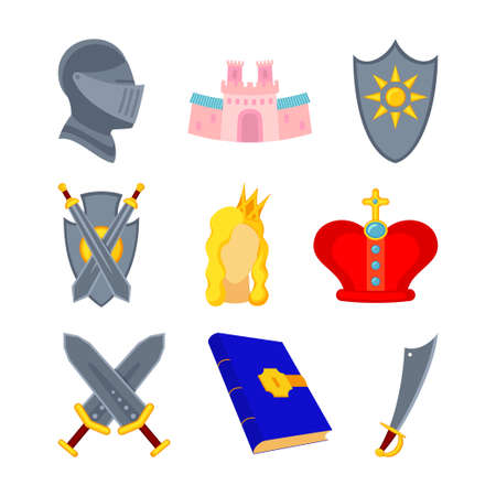 9 cartoon colorful fairytale icons. Medieval festival prop elements. Fairy tale theme vector illustration for stamp, label, certificate, gift card, invitation, coupon or sale banner decoration Vectores