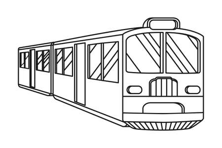Line art black and white train. Modern transport method. Travel themed vector illustration for icon, label, certificate, ticket, coupon or sale banner decoration Vectores