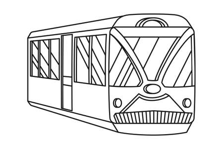 Line art black and white trolley. Modern transport method. Travel themed vector illustration for icon, label, certificate, ticket, coupon or sale banner decoration