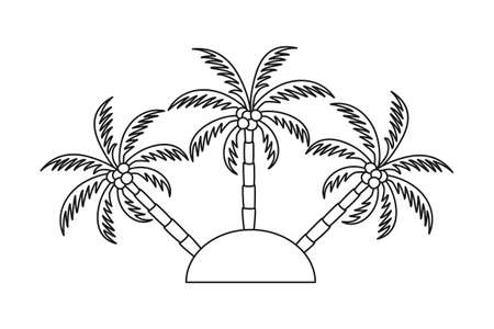 Line art black and white 3 palm tree on an island. Vacation tropical island sign. Travel themed vector illustration for icon,  label, emblem, postcard or invitation decor