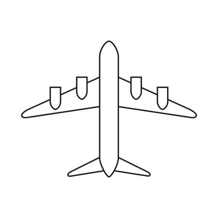 Line art black and white plane. Modern transport method. Travel themed vector illustration for icon, label, certificate, ticket, coupon or sale banner decoration Vectores