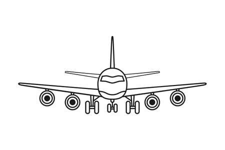 Line art black and white airplane front view. Modern transport method. Travel themed vector illustration for icon, label, certificate, ticket, coupon or sale banner decoration Vectores