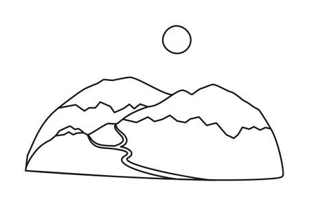 Line art black and white mountain range. Vacation travel destination. Tourism themed vector illustration for icon, label, certificate, ticket, coupon or sale banner decoration