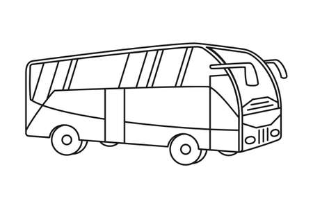 Line art black and white bus. Modern transport method. Travel themed vector illustration for icon, label, certificate, ticket, coupon or sale banner decoration Vectores