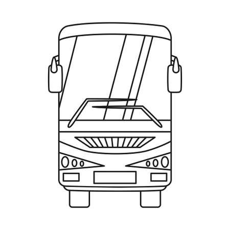 Line art black and white bus front view. Modern transport method. Travel themed vector illustration for icon, label, certificate, ticket, coupon or sale banner decoration