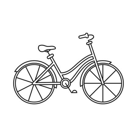 Line art black and white bicycle. Healthy eco transport. Travel themed vector illustration for icon, label, certificate, coupon or sale banner decoration Vectores