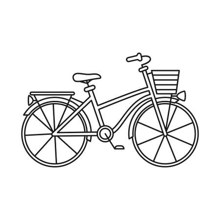 Line art black and white city bicycle with boot and basket. Healthy eco transport. Travel themed vector illustration for icon, label, certificate, coupon or sale banner decoration