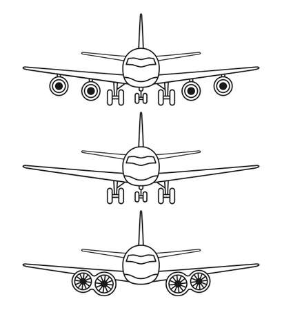 Line art black and white 3 airplane front view set. Modern transport metod. Travel themed vector illustration for icon, label, certificate, ticket, coupon or sale banner decoration