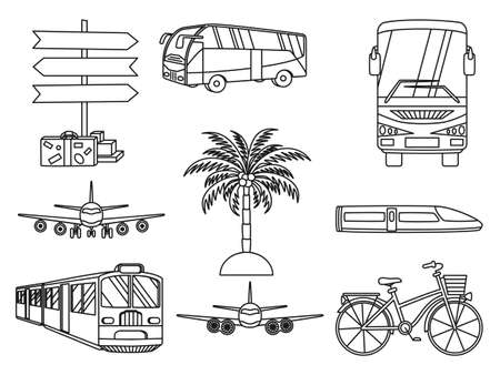 9 line art black and white vacation icons. Travel themed vector illustration for label, certificate, coupon or sale banner background decoration