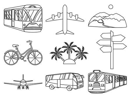 Lline art black and white 9 vacation icons. Travel themed vector illustration for label, certificate, coupon or sale banner background decoration
