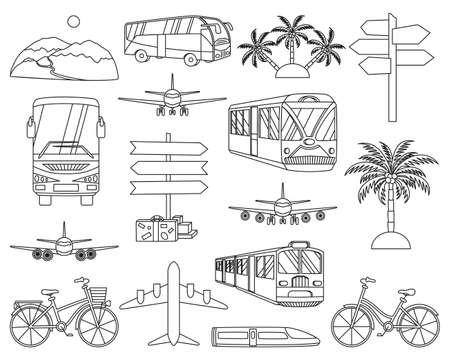 16 line art black and white vacation icons. Travel themed vector illustration for label, certificate, coupon or sale banner background decoration