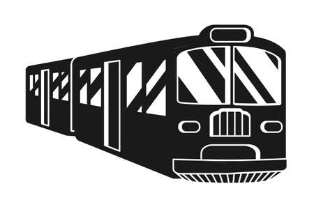 Black and white train silhouette. Modern transport method. Travel themed vector illustration for icon, label, certificate, ticket, coupon or sale banner decoration Vectores