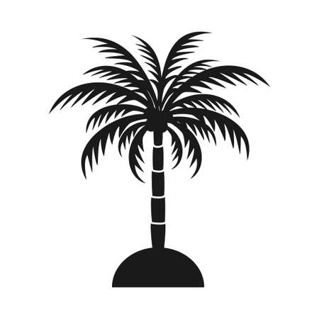 Black and white palm tree silhouette. Vacation tropical island sign. Travel themed vector illustration for icon, logo, label, emblem, postcard or invitation decor
