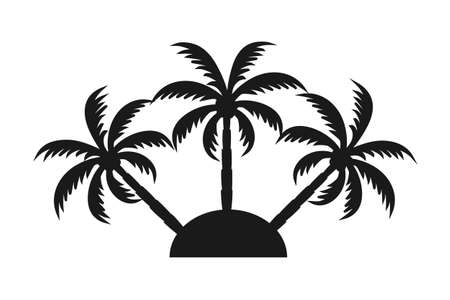 Black and white 3 palm tree on an island silhouette. Vacation tropical island sign. Travel themed vector illustration for icon, logo, label, emblem, postcard or invitation decor