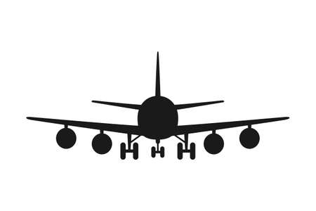 Black and white airplane front view silhouette. Modern transport method. Travel themed vector illustration for icon, label, certificate, ticket, coupon or sale banner decoration
