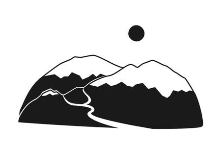 Black and white mountain range silhouette. Vacation travel destination. Tourism themed vector illustration for icon, label, certificate, ticket, coupon or sale banner decoration Vectores
