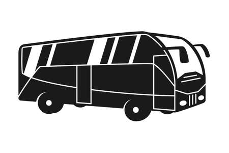 Black and white bus silhouette. Modern transport method. Travel themed vector illustration for icon, label, certificate, ticket, coupon or sale banner decoration Vectores