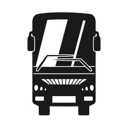 Black and white bus front view silhouette. Modern transport method. Travel themed vector illustration for icon, label, certificate, ticket, coupon or sale banner decoration