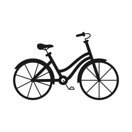 Black and white monochrome bicycle. Healthy eco transport. Travel themed vector illustration for icon, label, certificate, coupon or sale banner decoration