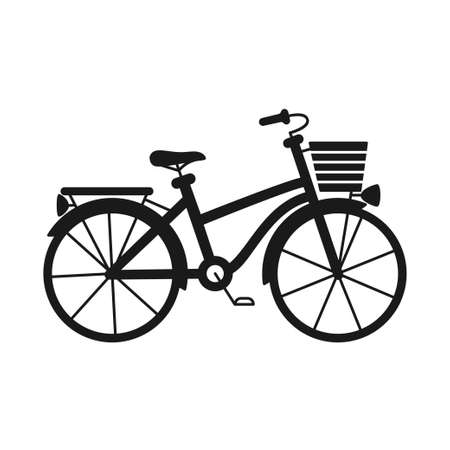 Black and white city bicycle with boot and basket. Healthy eco transport. Travel themed vector illustration for icon, label, certificate, coupon or sale banner decoration