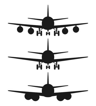 Black and white 3 airplane front view silhouette set. Modern transport metod. Travel themed vector illustration for icon, label, certificate, ticket, coupon or sale banner decoration Vectores
