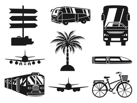9 black and white vacation monochrome icons. Travel themed vector illustration for label, certificate, coupon or sale banner background decoration Foto de archivo - 154775727