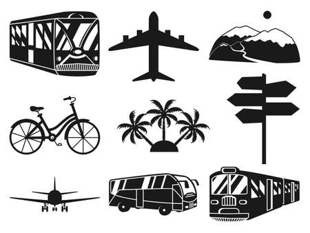 Black and white 9 vacation monochrome elements. Travel themed vector illustration for label, certificate, coupon or sale banner background decoration 矢量图像